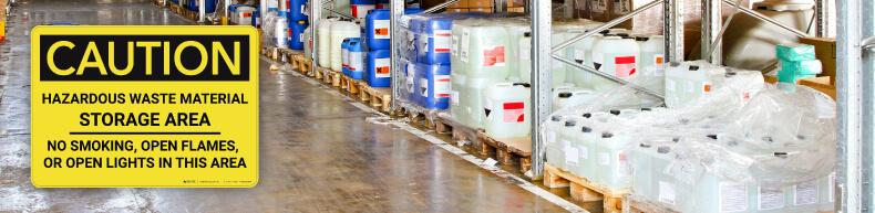 Caution Hazardous Waste Storage
