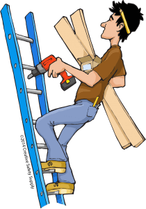 Image result for dangerous ladder cartoon