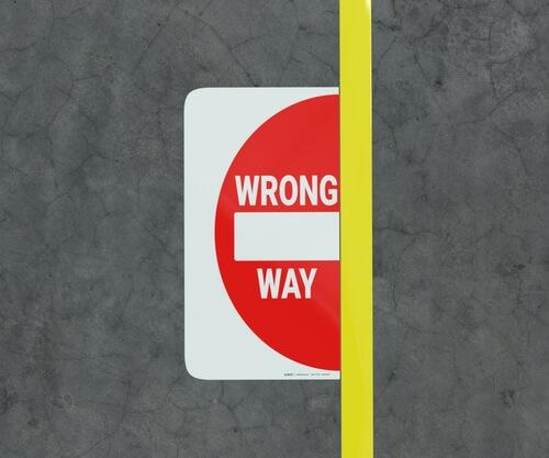 Wrong Way Floor Marking Sign