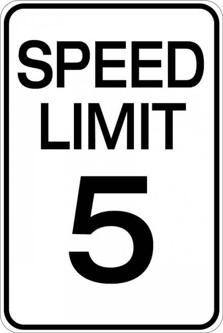 Speed limit signs for forklifts