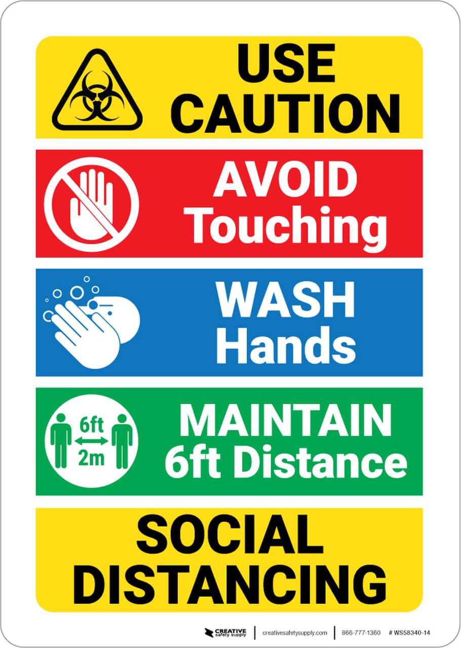 Social Distancing Precautions Wall Sign