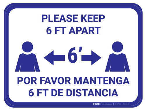 Bilingual Social Distancing Floor Sign