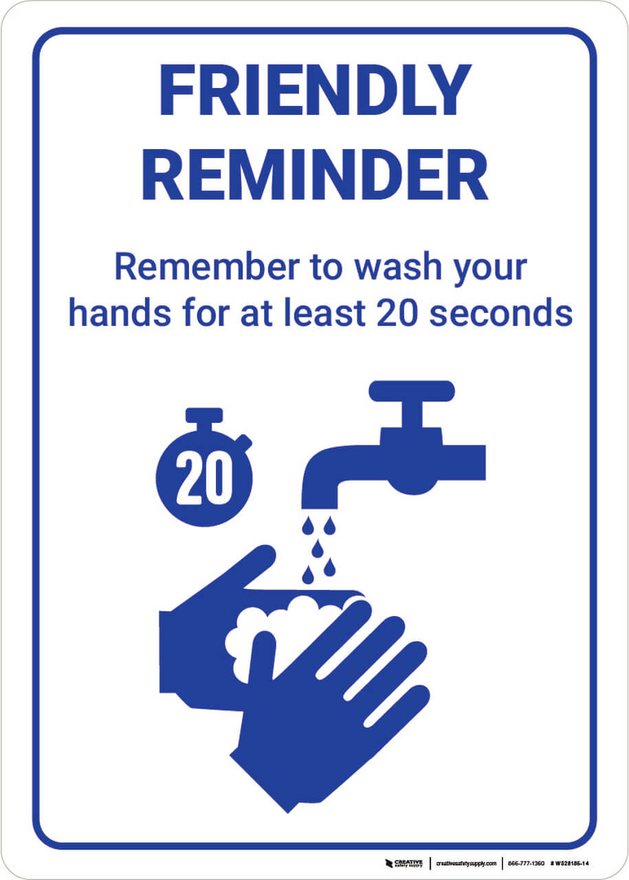 Remember to Wash Your Hands Wall Sign