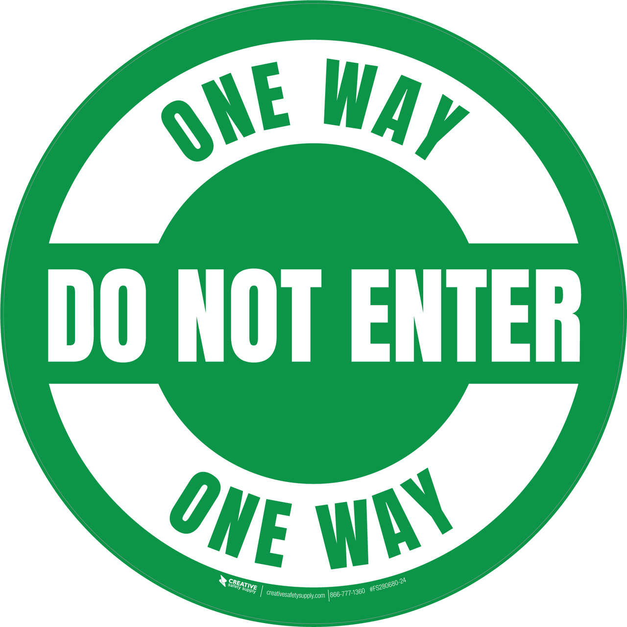 One Way Do Not Enter Floor Sign