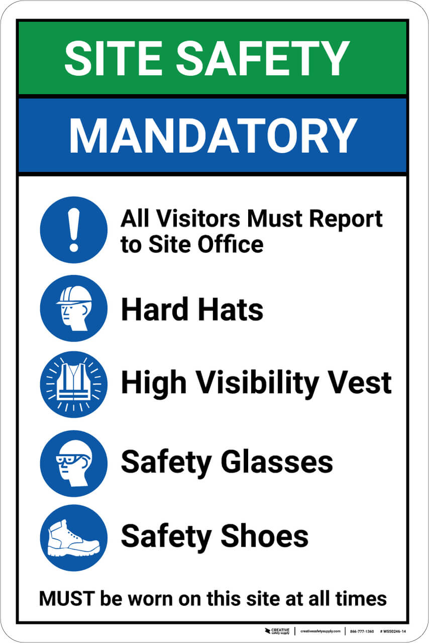 Site Safety Mandatory PPE safety sign