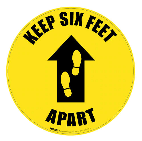 Please Keep Six Feet Apart yellow floor sign