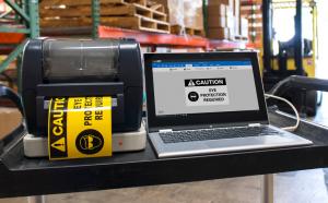 labeltac printer on cart with labelsuite